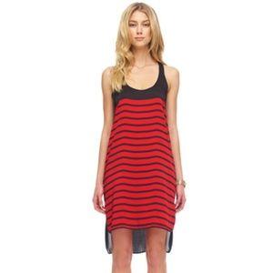 MICHAEL  KORS Red/Black Striped Hi-Lo Dress